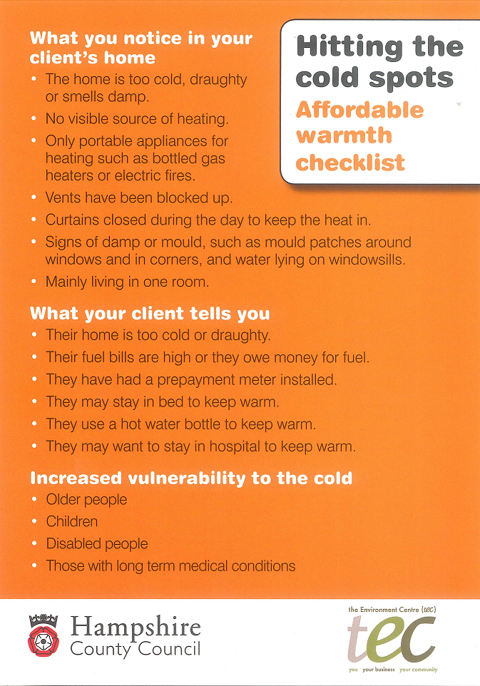 HTCS Affordable Warmth Checklist